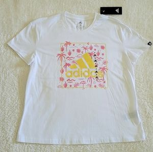 Adidas Gold💛 Foil Tropical🌴 Graphic Tee - NWT